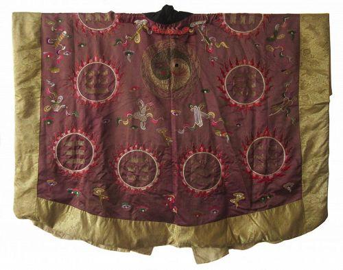 Antique Chinese Silk Robe with Auspicious Symbols