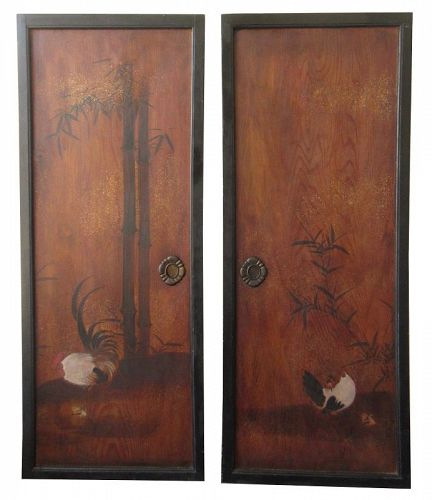 Antique Japanese Pair of Painted Fusuma Doors