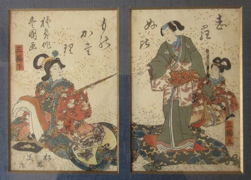 Japanese Edo Pair of Framed Prints