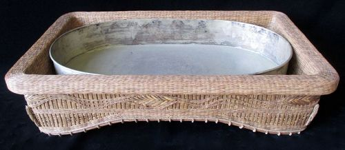 Fine Japanese Woven Basketry Suiban for Ikebana