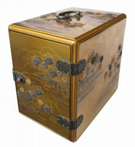Japanese Meiji Period Lacquer and Mixed Metal Inlaid Jewelry Box