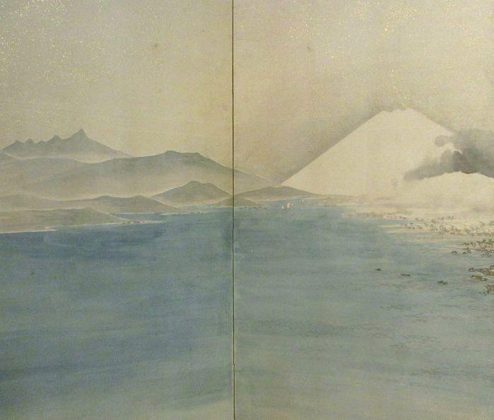 Japanese 6 Panel Byobu (folding screen Painting Mount Fuji / Harbor