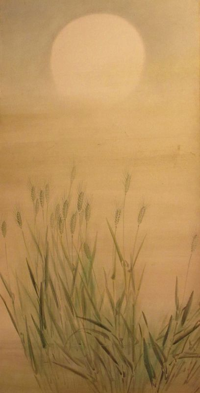 Japanese 6-Panel Byobu (Folding Screen Painting) w Moon & Wheat Field