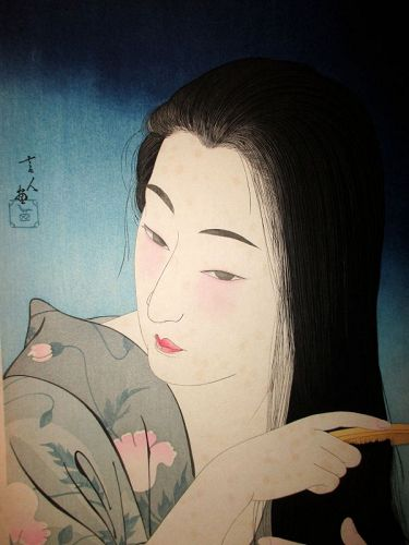 "Japanese Woodblock Print Titled ""Combing Hair"" by Torii Kotondo"
