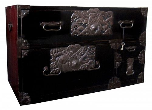Antique Japanese Sakata Black Lacquer Tansu