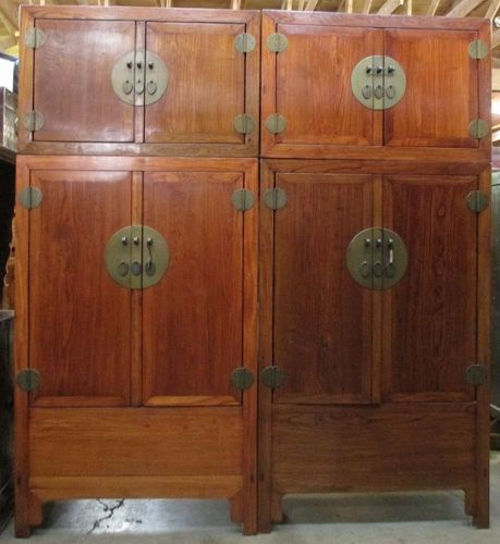 Large Pair of Antique Chinese Compound Cabinets