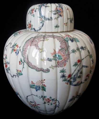 Rare Japanese Kakiemon Porcelain Jar w/ Dragon and Phoenix