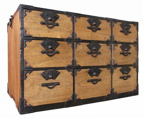 Japanese 9-Drawer Tansu with Fan Locks