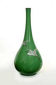 Japanese Green Cloisonne Vase with Herons