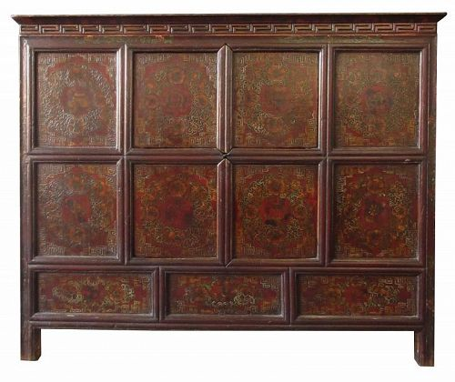 Antique Tibetan Lacquer Cabinet with Flowers