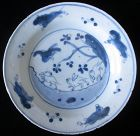 Small Ko-Sometsuke Plate with Rabbits