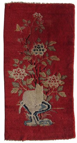 19th Century Red Mongolian Cat Rug