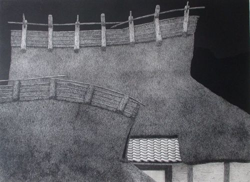 Barn and House,  Tanaka Ryohei,  etching and aquatint, 1993