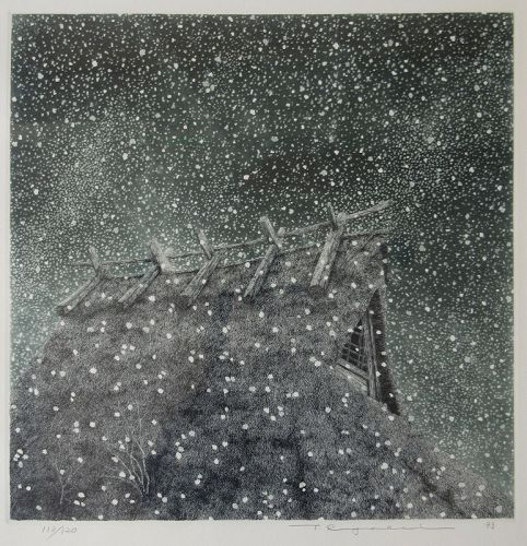 """""""Snow and Thatched Roof"""" by Tanaka Ryohei, etching and aquatint, 1993"""