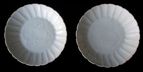 Chinese Pair of Small Song Dynasty Porcelain Plates with Fish