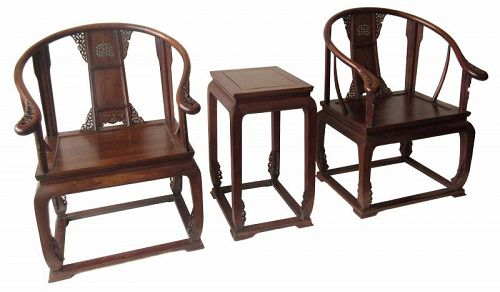 Antique Chinese Oxbow Arm Chair and Table Set