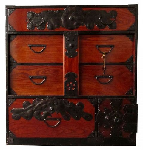 Antique Japanese Keyaki Front Bar Tansu - Japanese, Furniture From The Zentner Collection Of Antique Asian Art
