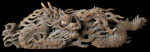 Rare Sacred Large Japanese Ryu Temple Carving