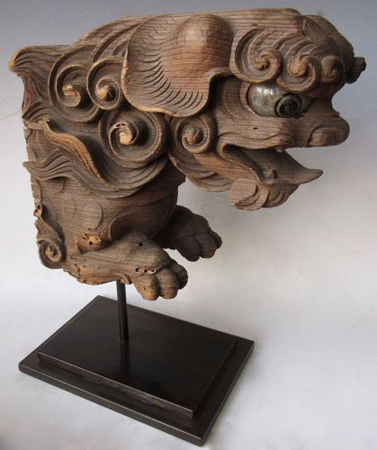 Antique Japanese Shishi Corbel