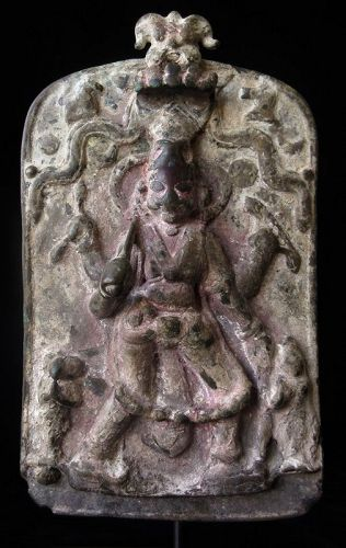 Bronze Indian Votive Shield of Virabhadra
