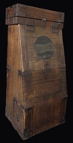Rare Japanese Kiri Wood Gyosho Bako (Backpack) with Ichi Mon