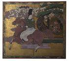 Japanese Screen Portrait of Daimyo Maeda Toshinaga on Horseback