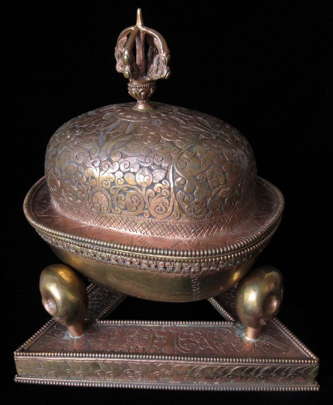 Bhutanese Copper Kapala with Vajra Top Lid