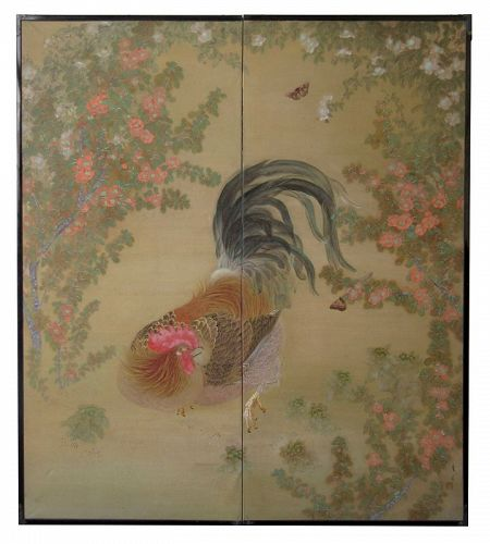 Japanese Two Panel Byobu Screen of Rooster and Butterflies