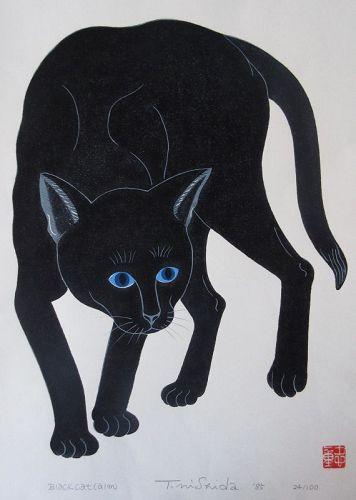 Japanese Nishida Tadashige Print - Black Cat
