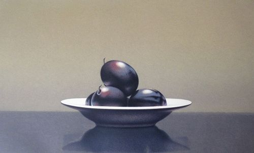 Lithograph Print by Guy Diehl - Still Life with Italian Plums
