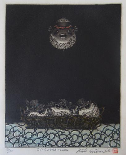 Hiroto Norikane Print of Puffer Fish Lanterns