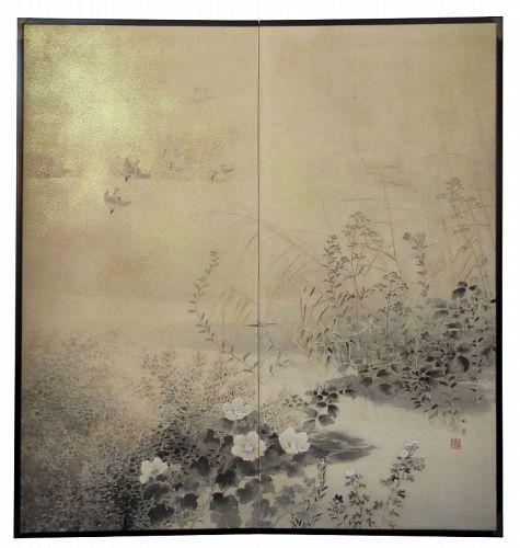 Pair of Japanese Screens by Yamashita Chikusai