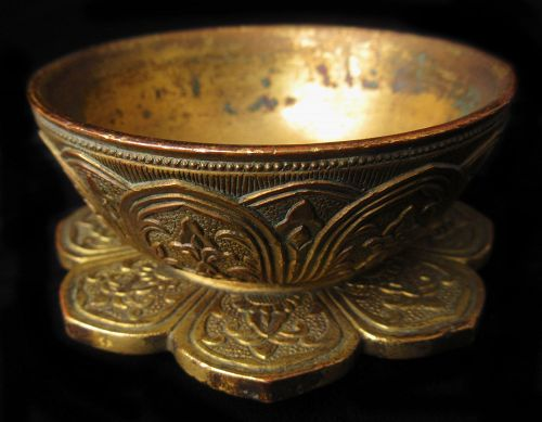 18th Century Tibetan Gilt Bronze Ritual Vessel