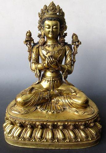 18th/19th Century Sino-Tibetan Gilt Bronze Seated Bodhisattva