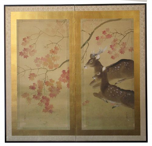 Antique Japanese 2 Panel Byobu Deer Screen, signed Hakuho