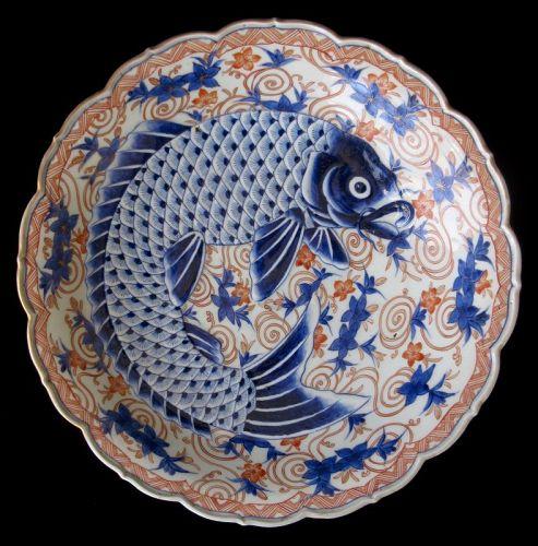 Antique Japanese Imari Fish Charger