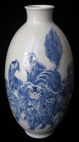 Antique Chinese Blue and White Porcelain Fu Dog Vase