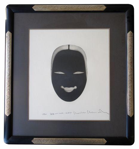 Japanese Framed Black Noh Mask Print