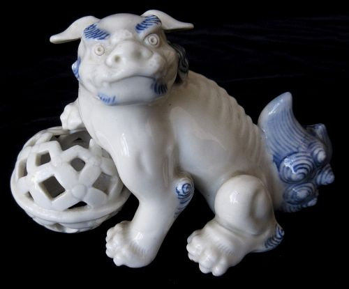 Antique Japanese Hirado Ware Fu Dog