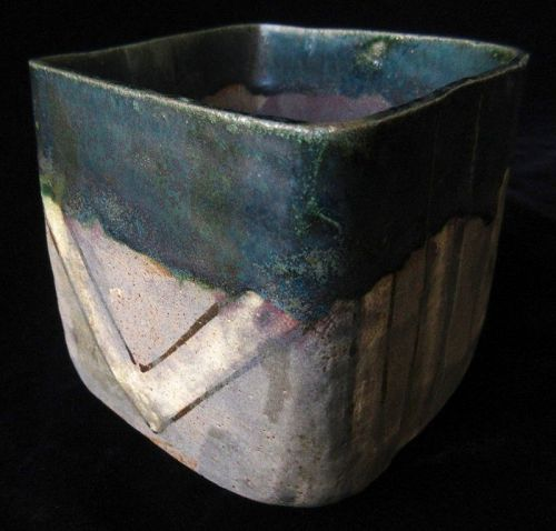 Antique Japanese Oribe Chawan (tea bowl)