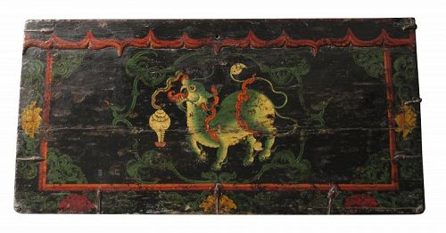 Late 18th Century Antique Tibetan Painted Trunk