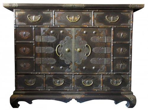 Antique Korean Large Bedside Chest - Korean, Furniture From The Zentner Collection Of Antique Asian Art