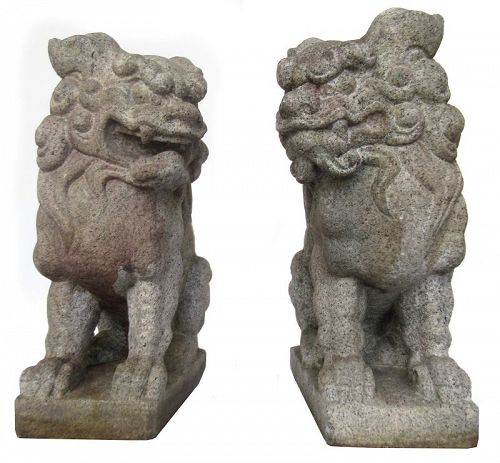 Pair of Chinese Stone Guardian Fu Dogs