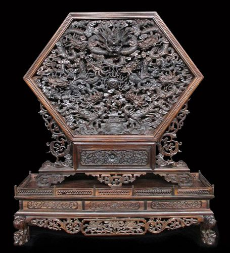 Incredible Chinese Antique Zitan Wood Carving of Dragons