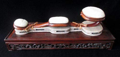 Chinese Antique White Jade and Hardwood Ruyi Scepter