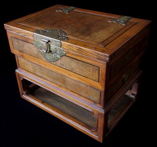 Antique Korean Persimmon Wood Vanity Box