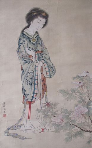 Japanese Antique Scroll Painting of a Chinese Beauty by Genki