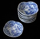 Japanese Set of Blue and White  Cups