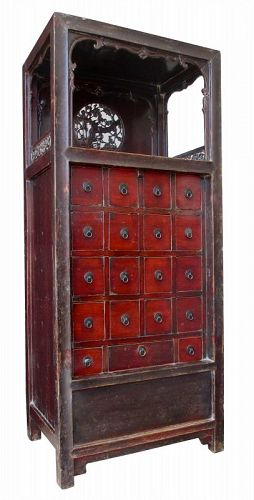 Chinese Antique Apothecary Chest with Display Shelf