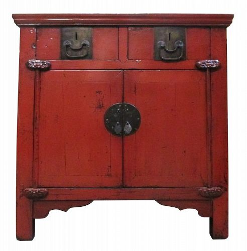 Chinese Antique Red Lacquer Cabinet